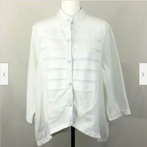 Lorain Croft Tuxedo Shirt Pleated Front Sz L